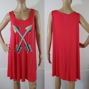 JUDITH MARCH Red Arrows Patches Sleeveless Dress